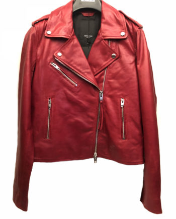 Rock and blue Reeva leather læder jacket jakke red rød