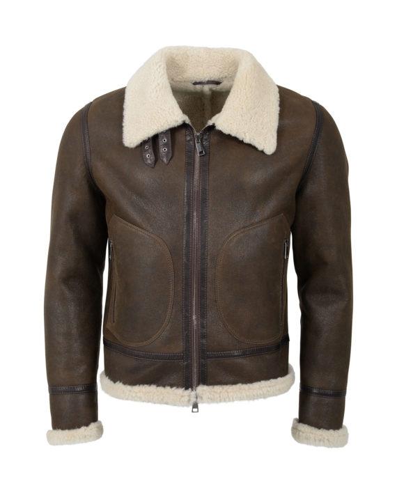 lambswool shearling jacket brown