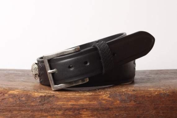 Håndlavet læderbælte med python