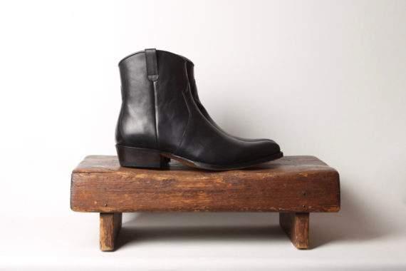 Sort herrestøvle i læder
