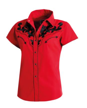 """roed kortaermet western skjorte """"Beth"""", produktbillede"""