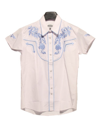 hvid kortærmet western skjorte, produktbillede