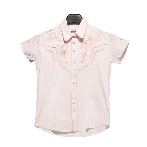 Hvid kortærmet skjorte med lyserødt broderi, produktbillede