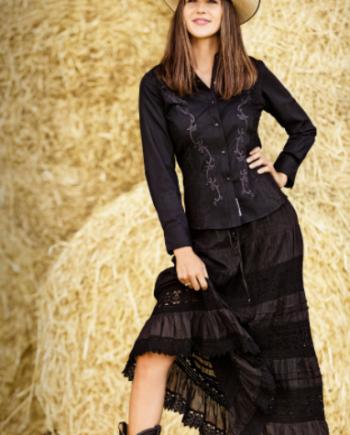 sort nederdel i westernstil, produktbillede