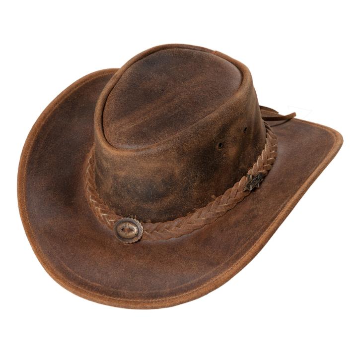cowboyhat-leather-brun